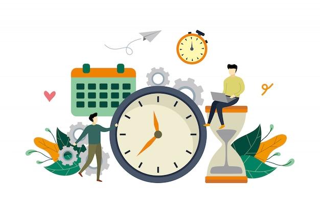 Flache illustration des arbeitszeitmanagements mit großer uhr und kleinen leuten