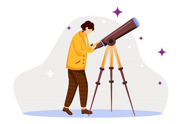 Flache illustration des astronomen. sterne, planeten, himmel beobachten. wissenschaftler mit spezieller ausrüstung. weltraumobjekte entdecken. mann mit lokalisierter karikaturfigur des teleskops auf weißem hintergrund