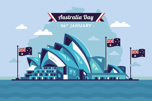 Flache illustration des australischen tages