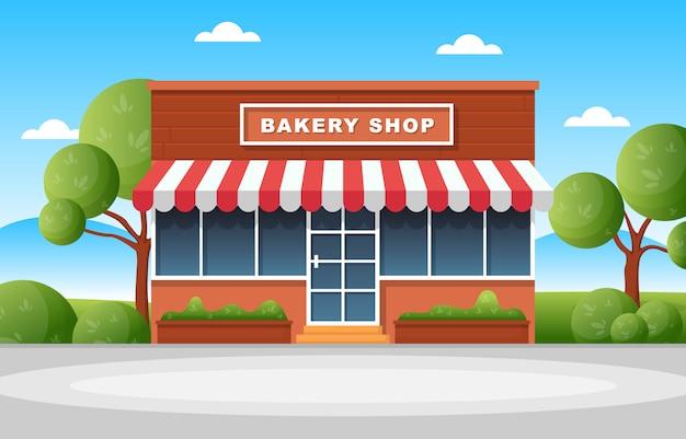 Flache illustration des bäckereigeschäfts