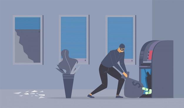 Flache illustration des bankraubversuchs.