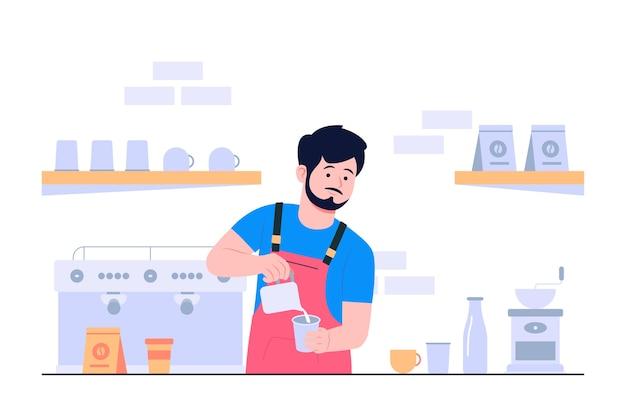 Flache illustration des barista-konzepts