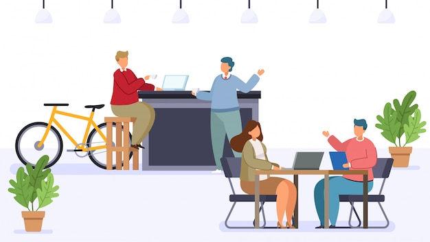 Flache illustration des caféshops