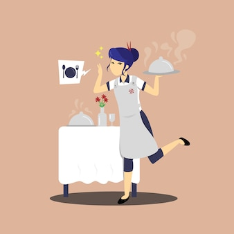 Flache illustration des chefcharakters