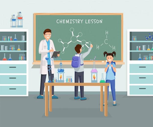Flache illustration des chemieunterrichts
