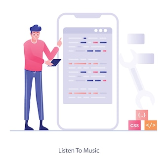 Flache illustration des entwicklungsprozesses für mobile apps