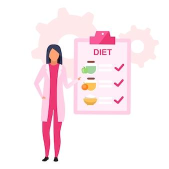 Flache illustration des ernährungsplans. weiblicher ernährungsberater, der gesundes essen für das abnehmen isolierte zeichentrickfigur auf weißem hintergrund vorschreibt. ernährungsberater empfiehlt essenszeitplan