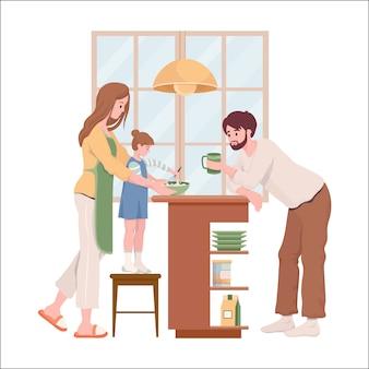 Flache illustration des familienalltag. glückliche mutter, vater und tochter in bequemen kleidern, die pfannkuchen oder kuchen für das wochenendfrühstück zusammen in der küche kochen.
