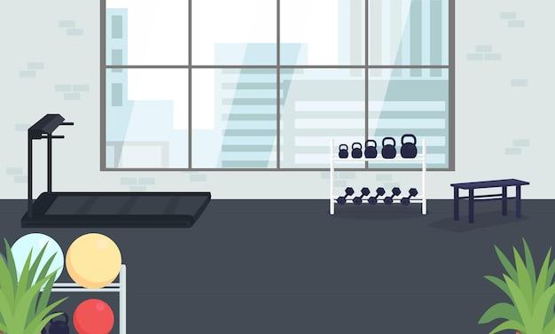 Flache illustration des firmengymnastikraums. platz zum trainieren. raum für körperliche aktivität. fitnessclub für firmenmitarbeiter-karikaturinnenraum mit großem fenster auf hintergrund