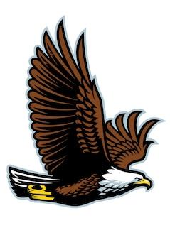 Flache illustration des fliegenden maskottchens des weißkopfseeadlers