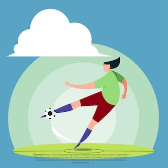 Flache illustration des fußballspielers