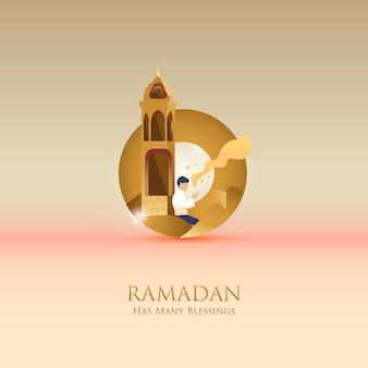 Flache illustration des gebets erhalten hoffnung für grußbeitrag whem ramadan-monat