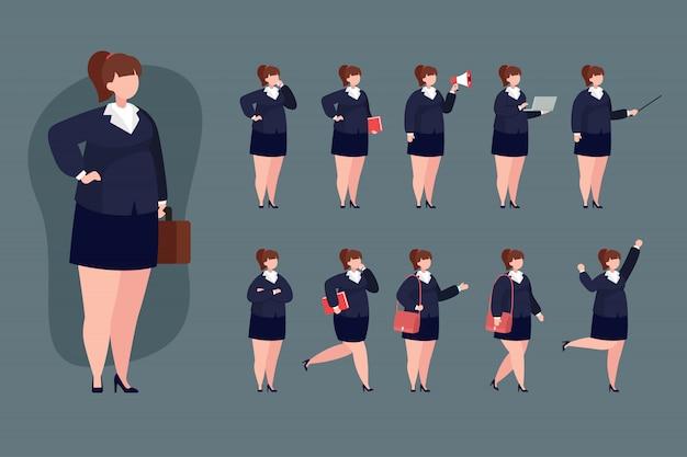 Flache illustration des geschäftsfrauzeichensatzes