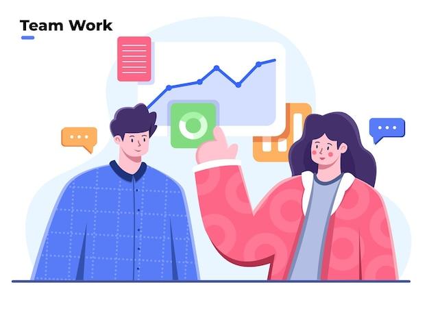Flache illustration des geschäftsteams, das zusammenarbeitet, um lösungen zu finden und diskussionsteilnehmer diskutieren ideenmarketing mit datenanalyse