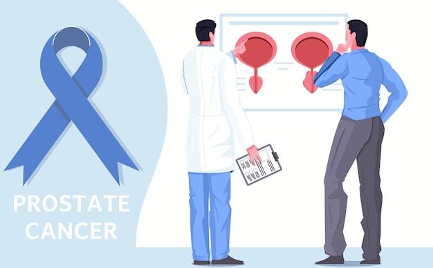 Flache illustration des gesundheitswesens der männer mit blauem bandarzt und patient des prostatakrebsbewusstseins