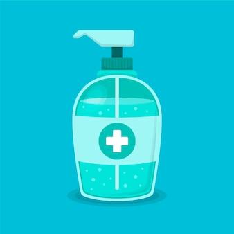 Flache illustration des händedesinfektionsmittels