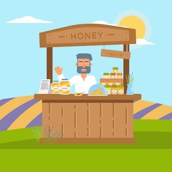 Flache illustration des hausgemachten honigverkaufs lokalisiert auf natur