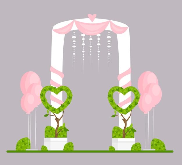 Flache illustration des hochzeitsbogens. verlobungszeremonie isoliertes gestaltungselement. hochzeitsfeier festliche einrichtung. zeremonieller torbogen mit weißen vorhängen, rosa herzen und luftballons.
