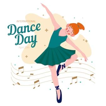 Flache illustration des internationalen tanztages