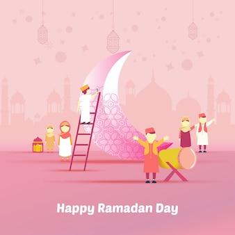 Flache illustration des kindes glücklich, wenn ramadan kommt