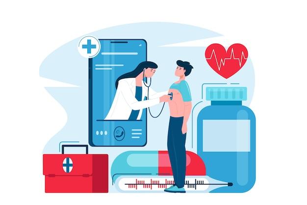 Flache illustration des konzepts der medizinischen online-unterstützung