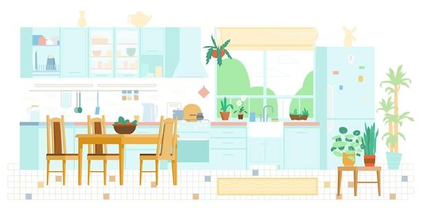 Flache illustration des kücheninnenhintergrundes