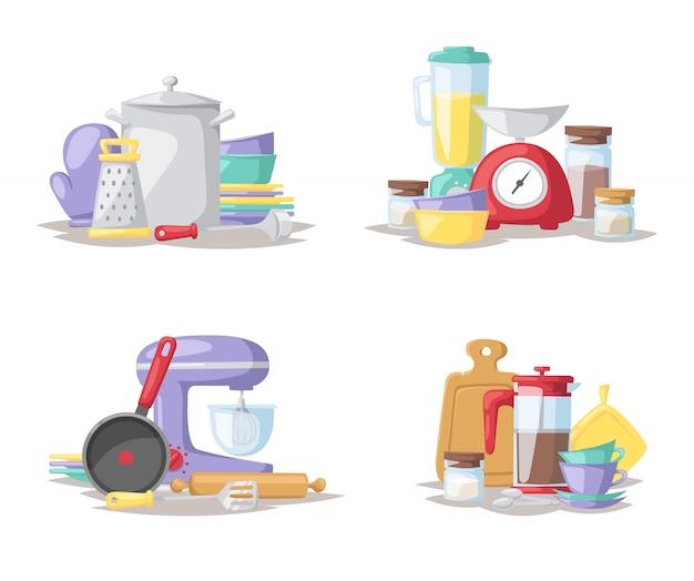 Flache illustration des küchenkochwerkzeugsatzes.