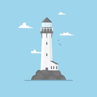 Flache illustration des leuchtturmgebäudes und des blauen himmels. scheinwerferturm mit seemöwen und wolken