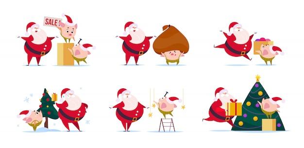 Flache illustration des lustigen weihnachtsmanncharakters und des niedlichen kleinen schweineelfen in der weihnachtsmütze