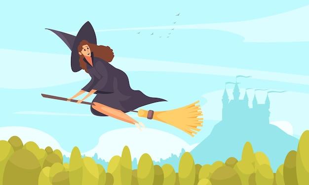 Flache illustration des märchenbuchs der hexe, die auf besen fliegt