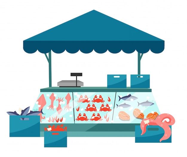 Flache illustration des meeresfrüchtemarkt-stalls