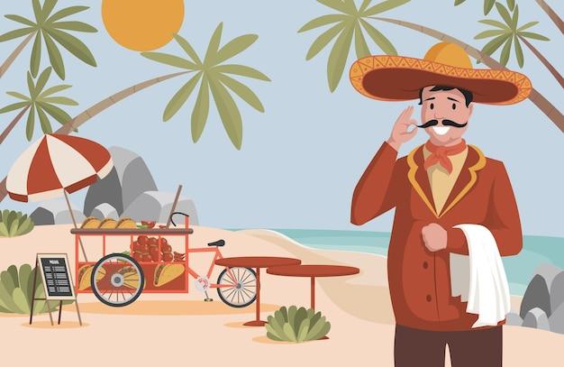 Flache illustration des mexikanischen lebensmittelvektors glücklicher mann im großen mexikanischen