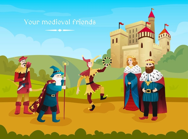 Flache illustration des mittelalterlichen königreichs