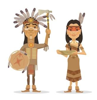 Flache illustration des paares der amerikanischen ureinwohner