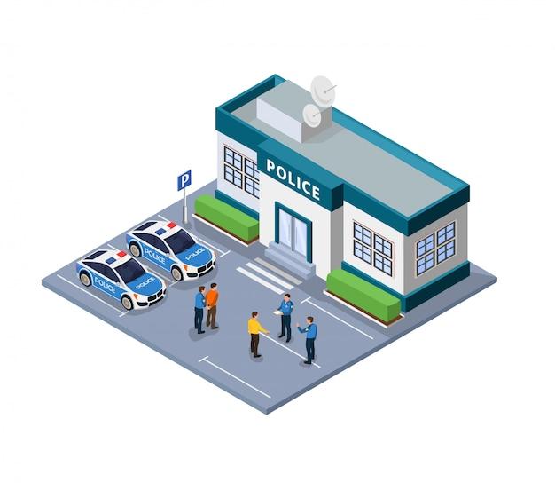 Flache illustration des polizeigewahrsams und des drahtes isometrisch.