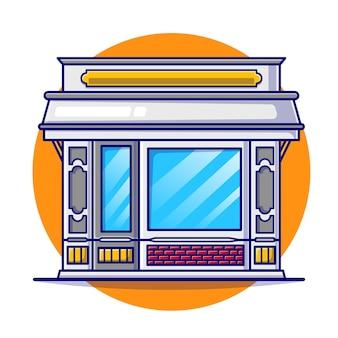 Flache illustration des restaurantgebäudes.