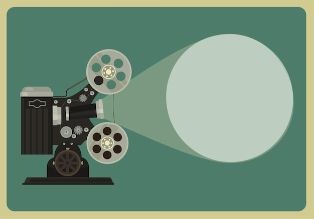 Flache illustration des retro-filmprojektors