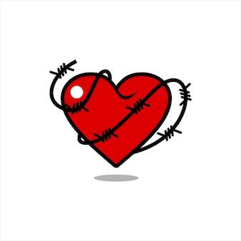 Flache illustration des roten herzens mit stacheldraht