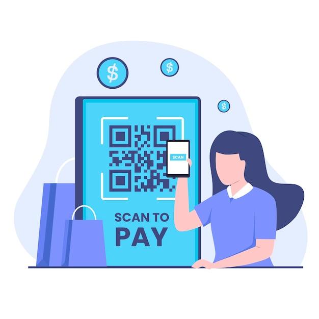 Flache illustration des scan-to-pay-designkonzepts