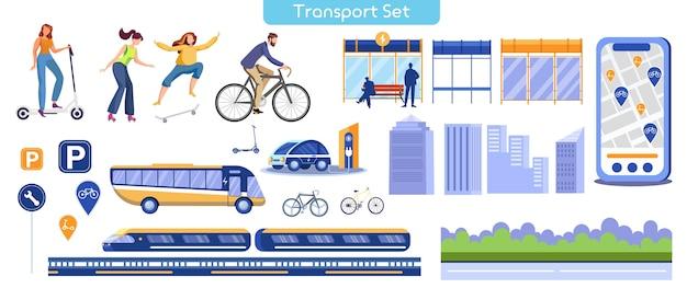 Flache illustration des stadtverkehrs. unterschiedliche öffentliche verkehrsmittel