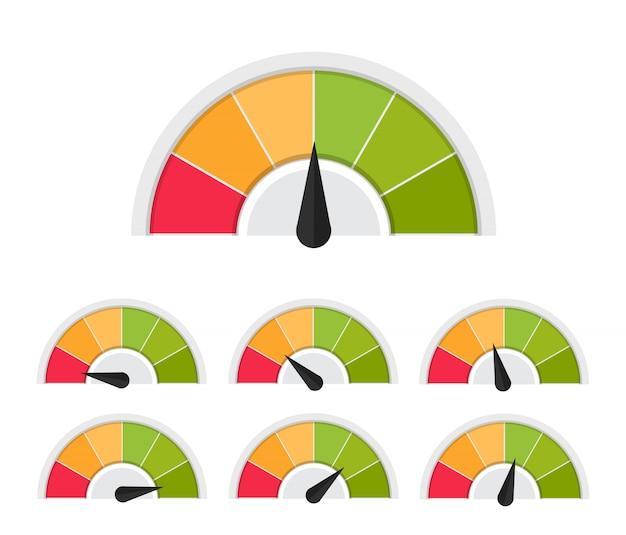 Flache illustration des unterschiedlichen gefühlkundendienstmanagements des kundenmessgeräts