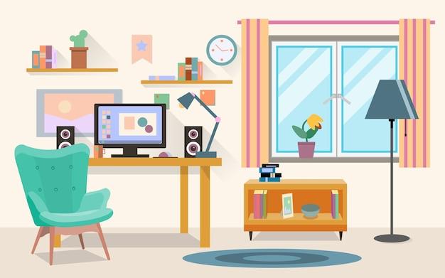 Flache illustration des vektors des modernen büros, des arbeitsbereichs, des arbeitsplatzes mit computer im raum.