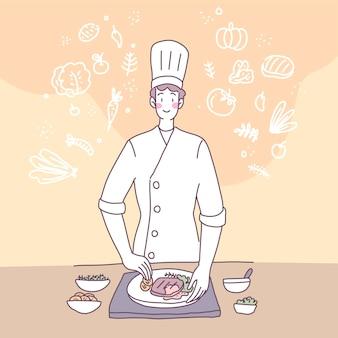 Flache illustration des vektors mit einem mann, der in der küche kocht