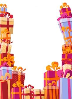 Flache illustration des volumenarthintergrundes. berg von geschenken in hellen kästen mit bändern