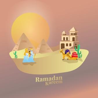 Flache illustration des wanderers an der wüste für ramadan-kareem