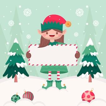 Flache illustration des weihnachtscharakters, der leere fahne hält