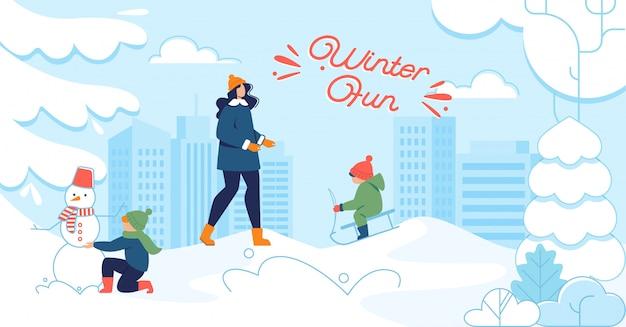 Flache illustration des winterspaßes mit glücklichen menschen draußen