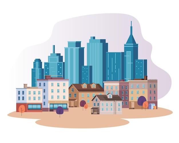 Flache illustration des wolkenkratzerkonzepts der stadtstadt