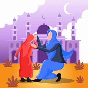 Flache illustration, die eine muslimische mutter darstellt, die hand mit ihrer tochter für vergebung am eid mubarak tag schüttelt