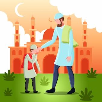 Flache illustration, die einen muslimischen mann darstellt, der hände mit seinem sohn für vergebung am eid mubarak tag schüttelt